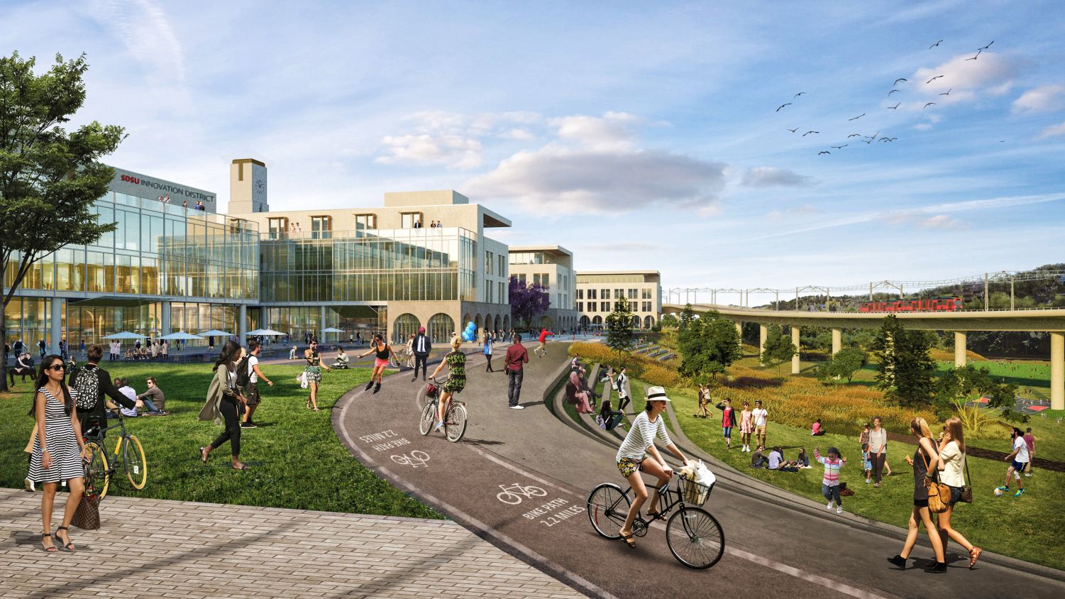 Rendering of the proposed SDSU West river park and bike trail.