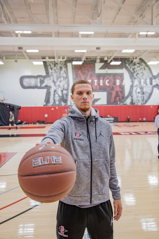 Junior guard Malachi Flynn at SDSU men's basketball media day on Oct. 23 at the Jeff Jacobs JAM Center.