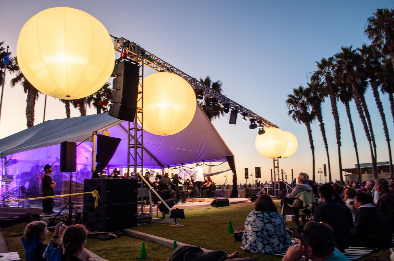 SDSU symphonies perform during sunset at Imperial Beach.