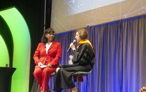 College of Engineering alumna and Solar Turbines, Inc. Manager Daisy Galeana (left) speaks with Dr. Ellen Ochoa (right) at the President's Lecture Series on Oct. 2.
