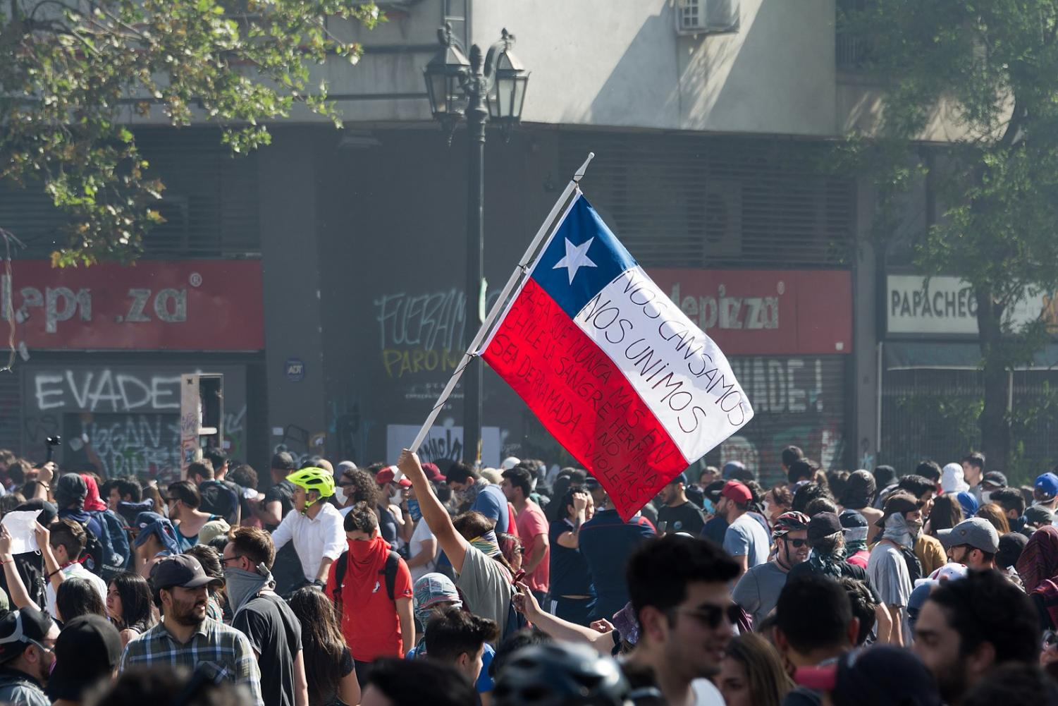 Protestors demonstrate in the Plaza Baquedano in Santiago, Chile.