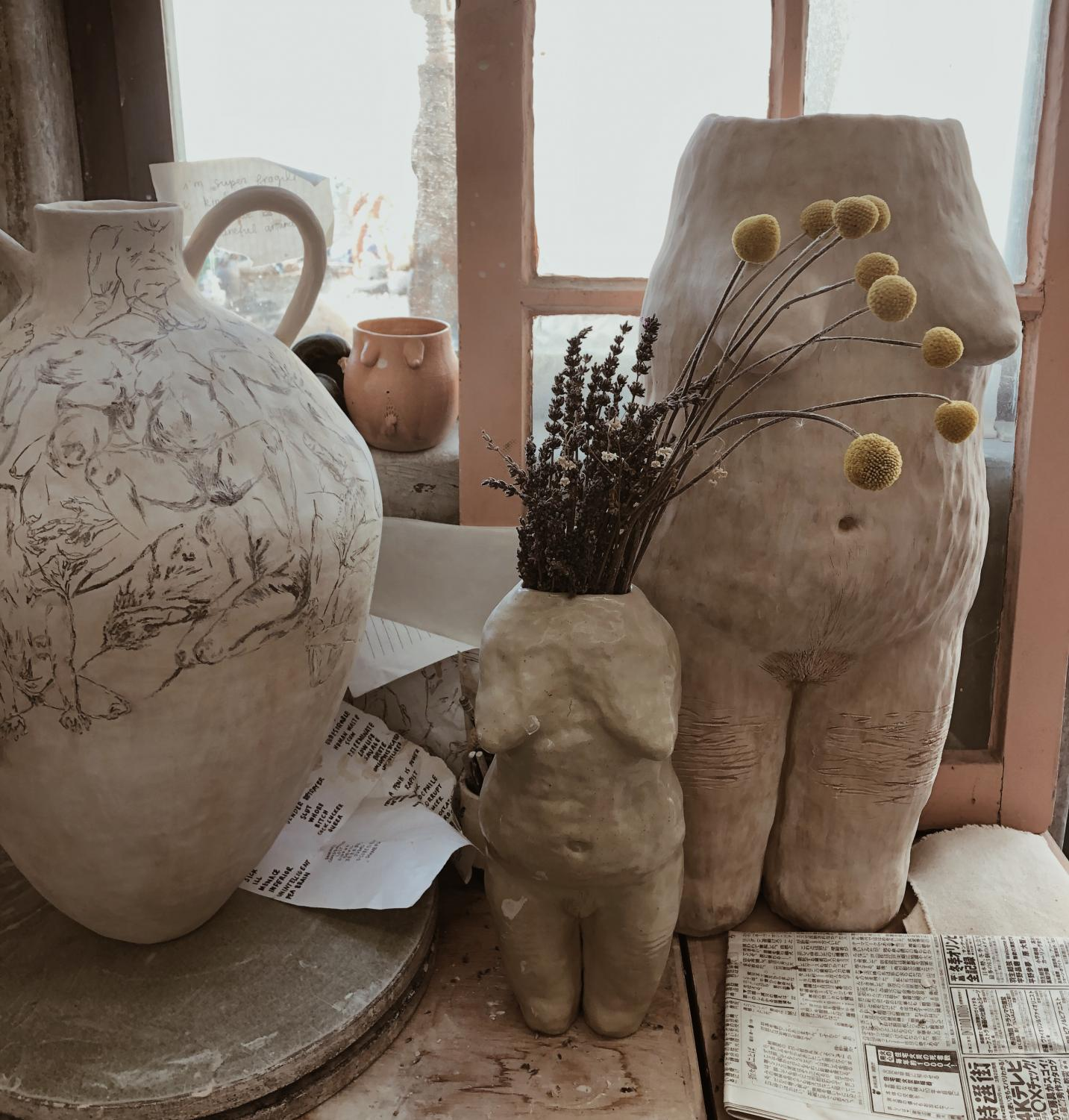 Their pottery takes on natural body figures.