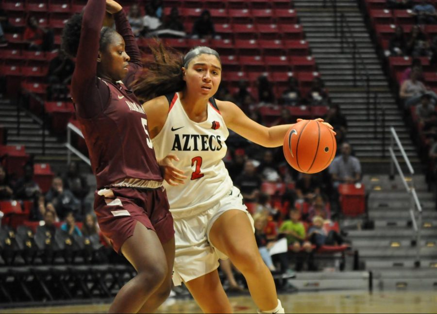 Sophomore+guard+Sophia+Ramos+attempts+to+shrug+off+the+Alabama+A%26M+defender+during+the+Aztecs%27+61-53+loss+on+Nov.+14+at+Viejas+Arena.