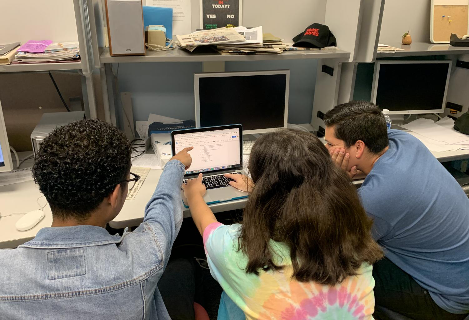 Students working together on a group project.
