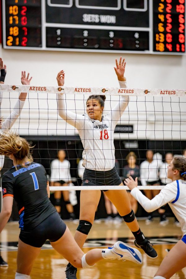 Senior middle blocker Tamia Reeves attempts to block a spike in the Aztecs' 3-2 loss to Boise State on Oct. 24 at Peterson Gym.