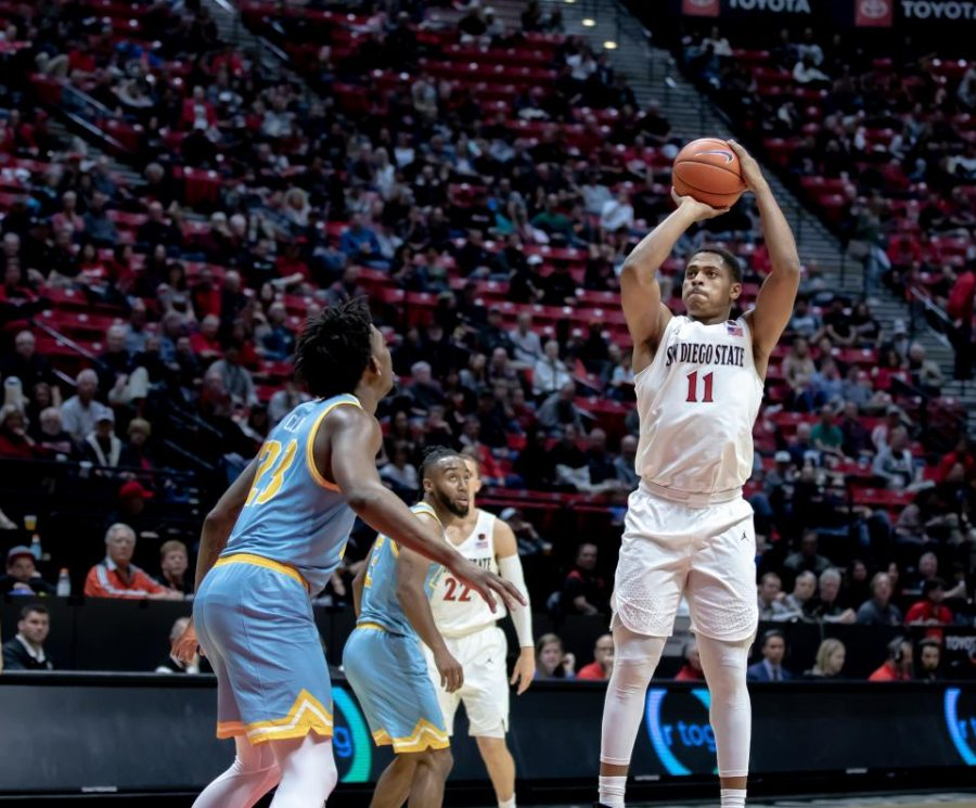 Junior forward Matt Mitchell shoots over the LIU defense during the Aztecs' 81-64 victory over the Sharks on Nov. 22 at Viejas Arena.