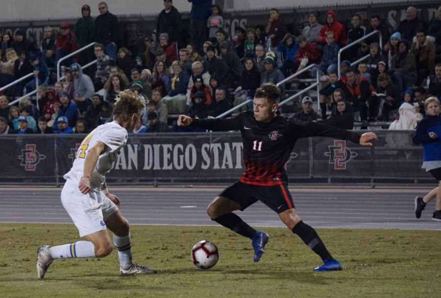 Senior+midfielder+Adam+Vargas+attempts+to+get+past+a+UCLA+defender+in+the+Aztecs%E2%80%99+1-0+loss+to+the+Bruins+on+Nov.+16+at+the+SDSU+Sports+Deck.