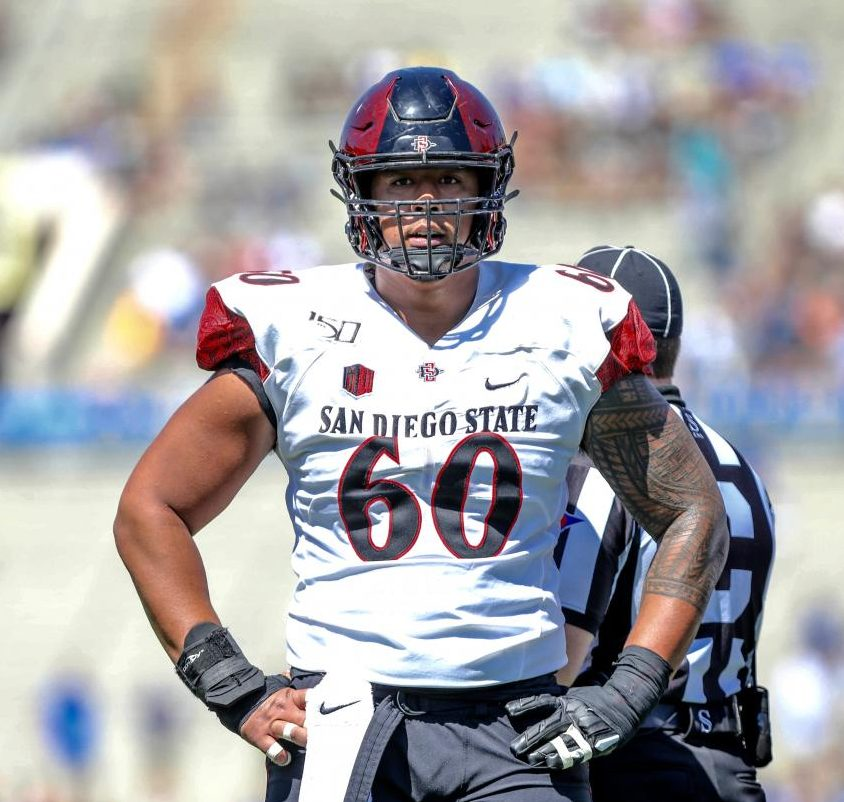 SDSU junior center Keith Ismael looks down the field during the Aztecs' 23-14 win over UCLA on Sept. 7 at the Rose Bowl in Pasadena.