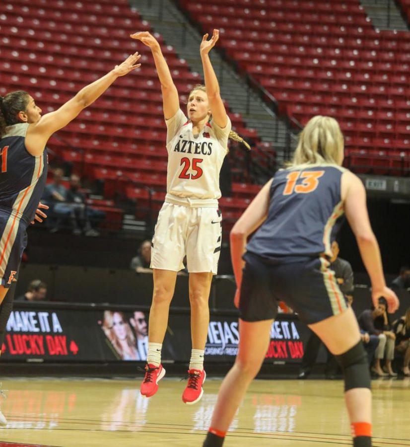 Senior guard Taylor Kalmer follows through on a jump shot during the Aztecs' 55-45 win over Cal State Fullerton on Nov. 17, 2019 at Viejas Arena.