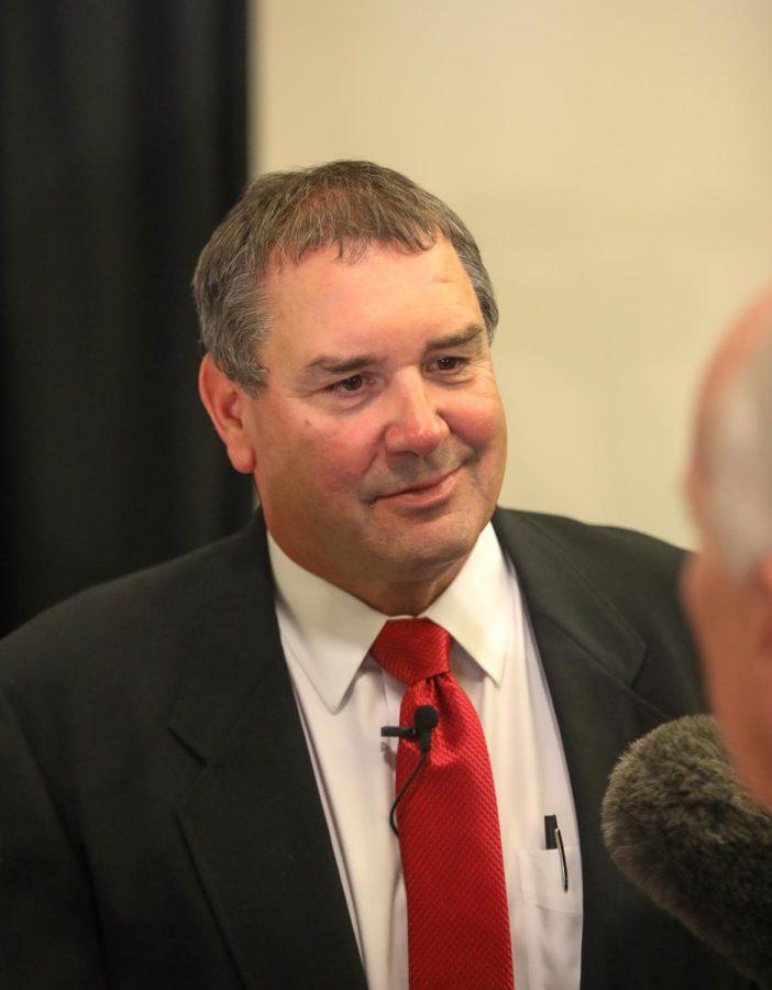 San Diego State football head coach Brady Hoke addresses the media after being introduced as San Diego State footballs head coach on Jan. 8.