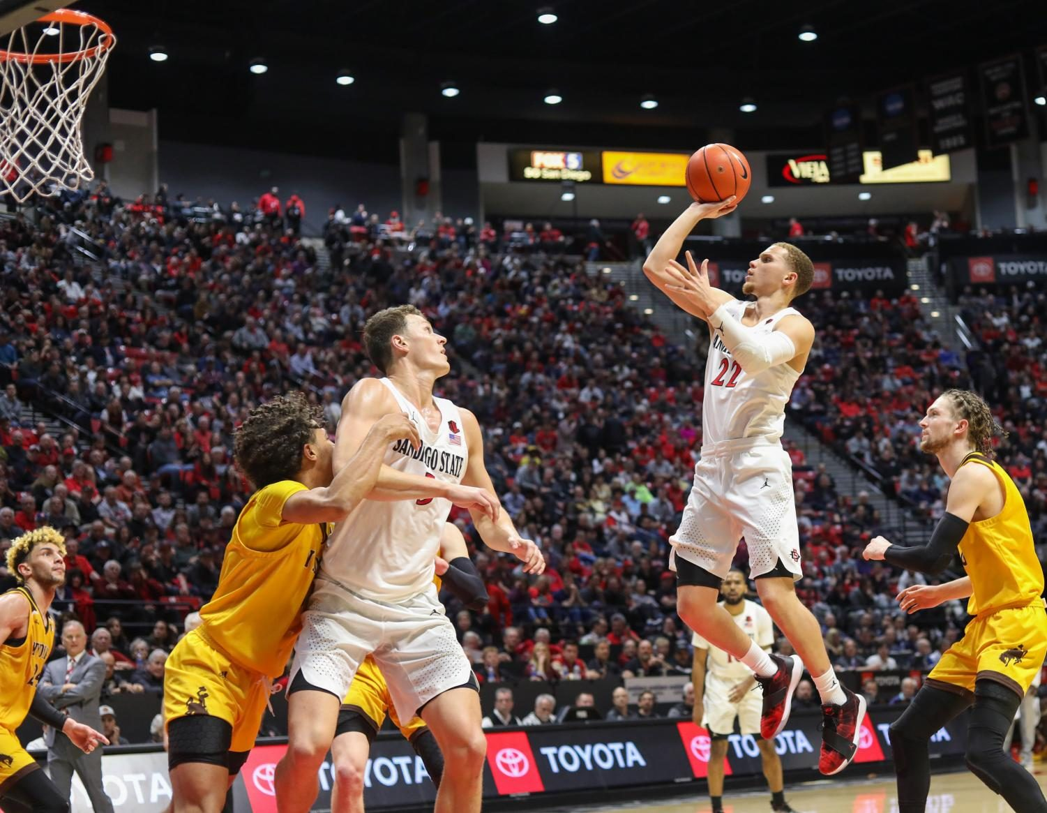 Junior guard Malachi Flynn goes for a floater in the lane during the Aztecs' 72-55 win over Wyoming on Jan. 21 at Viejas Arena.