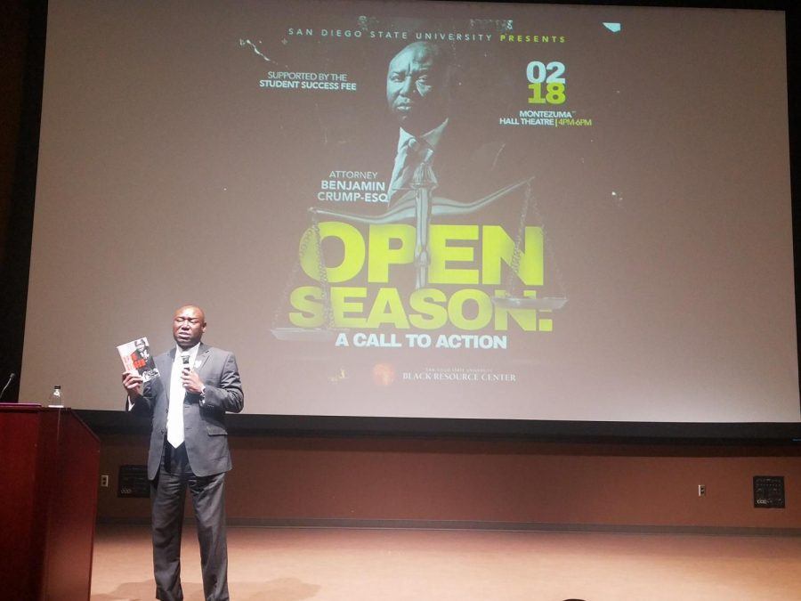 Renowned+attorney+and+author+Benjamin+Crump+spoke+about+civil+rights+and+his+life+as+an+attorney+at+Montezuma+Hall+Theatre+on+Feb.+18.