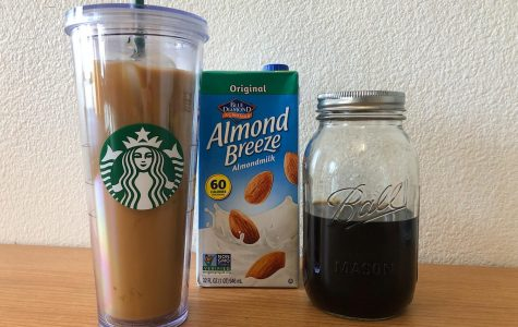 You can brew and mix your iced coffee with almond milk.