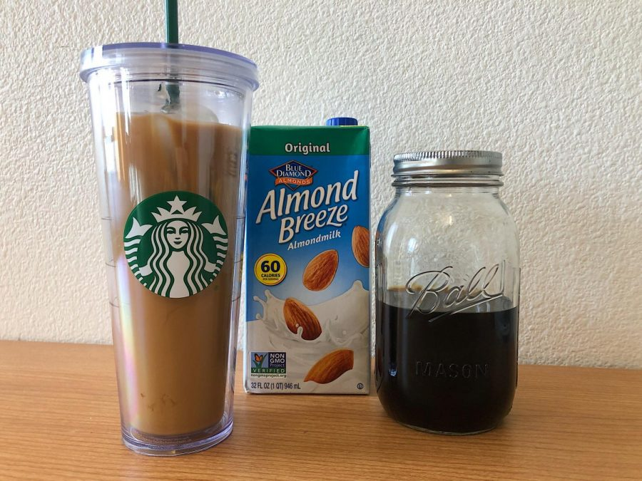 You+can+brew+and+mix+your+iced+coffee+with+almond+milk.