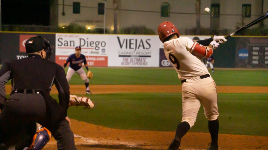 Junior outfielder Matt Rudick makes contact with a pitch during the Aztecs' 8-4 win over Cal State Fullerton on Feb. 18, 2020 at Tony Gwynn Stadium.
