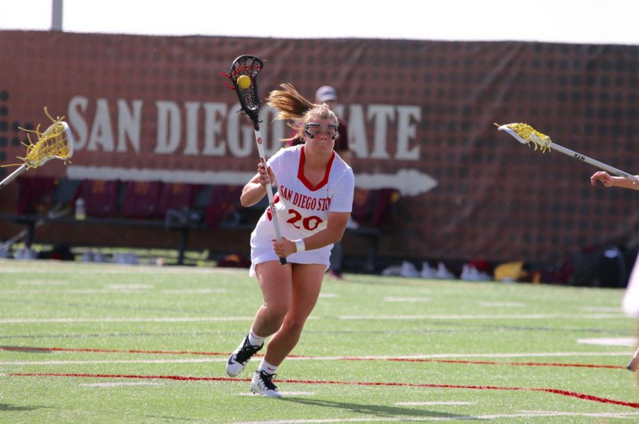 Freshman+attacker++Camdyn+O%E2%80%99+Donnell+looks+to+score+during+the+Aztecs%27+19-18+win+over+Arizona+State+on+Feb.+21.+O%E2%80%99+Donnell+also+scored+the+game-winning+goal+in+the+closing+seconds+to+defeat+the+Sun+Devils.