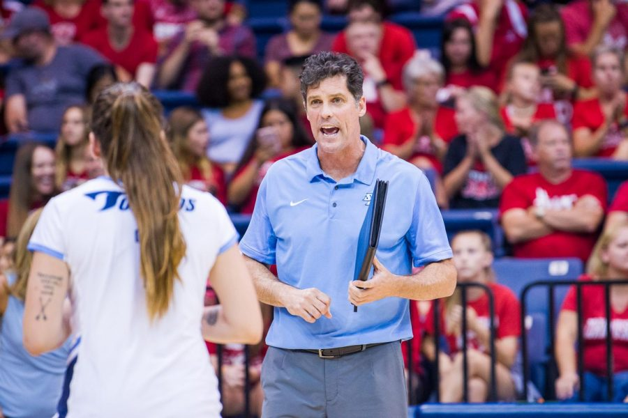USD then-head volleyball coach Brent Hilliard instructs one of his players during his tenure with the Toreros.