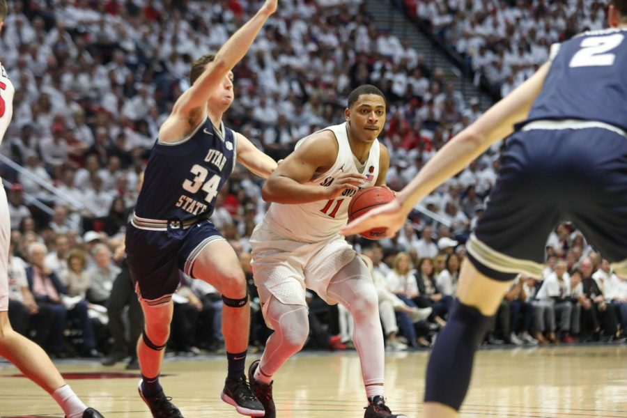 Junior forward Matt Mitchell drives down the lane during the Aztecs' 80-68 win over Utah State on Feb. 1 at Viejas Arena.