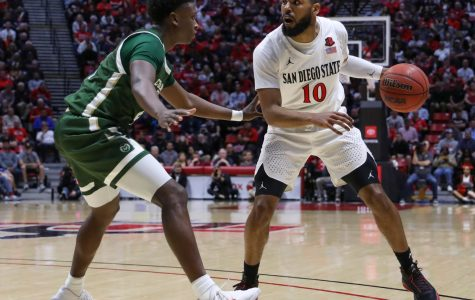 Senior guard KJ Feagin looks to get past a Colorado State defender in the Aztecs' 66-60 win over the Rams on Feb. 25 at Viejas Arena.