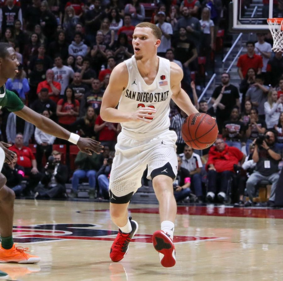 Junior+guard+Malachi+Flynn+looks+to+penetrate+inside+during+the+Aztecs%27+66-60+victory+over+Colorado+State+on+Feb.+25+at+Viejas+Arena.
