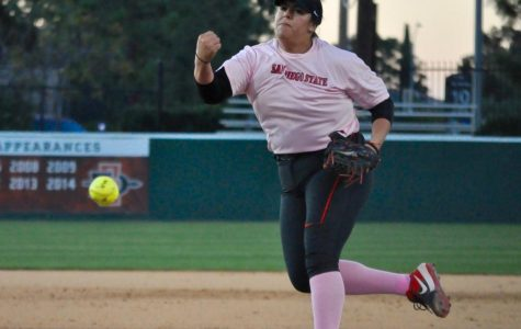 Senior pitcher Marissa Moreno pitches the ball during the Aztecs' 3-2 victory against Cal State Fullerton on Feb. 14 at SDSU Softball Stadium.