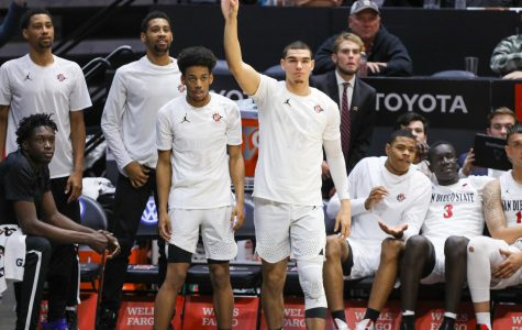Aztec players react awaiting the result of a play during its historic 2019-20 season that way cut short due to coronavirus.