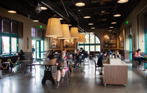 Just a few days before SDSU shut down most campus operations, students practiced social distancing at the Starbucks in the student union. The location had about half the tables it normally would in an attempt to prevent the spread of COVID-19.