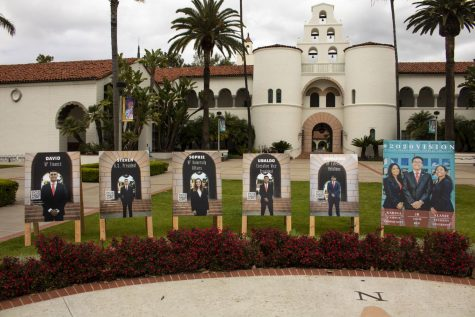 Candidates from Serve SDSYOU and SDSU 2020 Vision set up signs outside Hepner Hall as part of their campaigns, despite the campus being largely empty as a result of COVID-19.