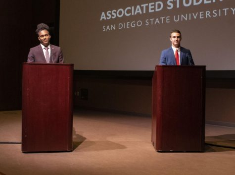 A.S. presidential candidates Christian Holt (left) and Steven Plante (right) debated on Wednesday after on issues pertaining to the campus community.