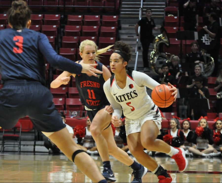Junior guard Téa Adams drives to the hoop during the Aztecs' 65-60 loss to Fresno State on Jan. 15 at Viejas Arena.