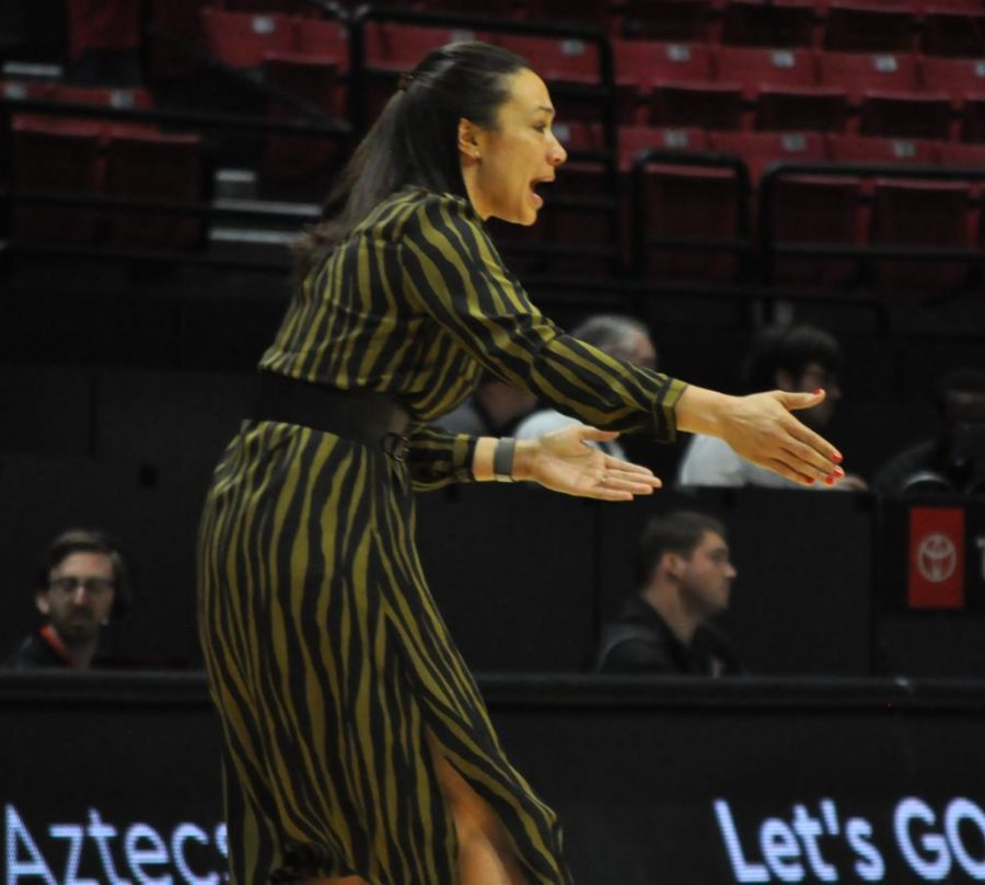 Head coach Stacie Terry-Hutson instructs her team during the Aztecs' 51-49 loss to Air Force on Feb. 8 at Viejas Arena.