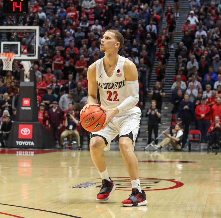 Junior+guard+Malachi+Flynn+prepares+to+shoot+the+ball+during+the+Aztecs%27+72-55+win+over+Wyoming+on+Jan.+21+at+Viejas+Arena.