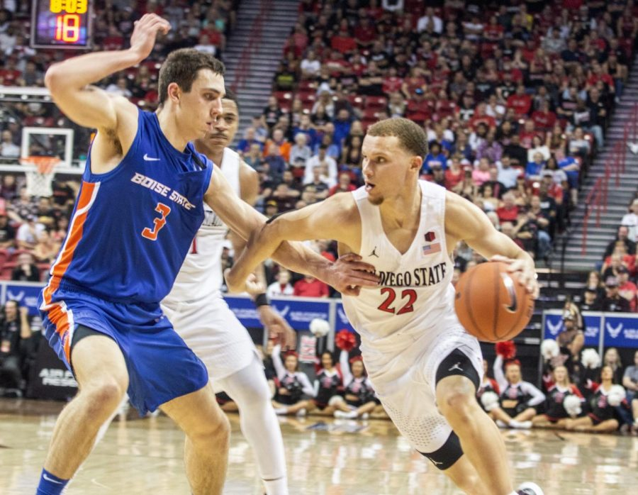 Junior+guard+Malachi+Flynn+drives+left+during+the+Aztecs%27+81-68+victory+over+Boise+State+in+the+Mountain+West+tournament+semifinal+on+March+6+at+the+Thomas+and+Mack+Center+in+Las+Vegas.