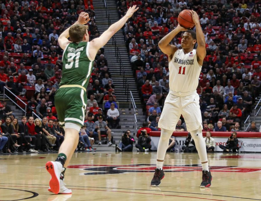 Then-junior forward Matt Mitchell attempts a jump shot over a Colorado State defender during the Aztecs' 66-60 win over the Rams on Feb. 25 at Viejas Arena.