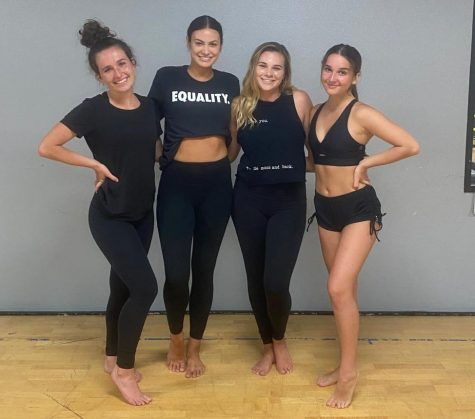SDSU alumni Rachel Hanson (second to left) and Tory Brown (second to right) pose with their fellow dance instructors during the Black Lives Matter Master Class fundraiser on June 13.