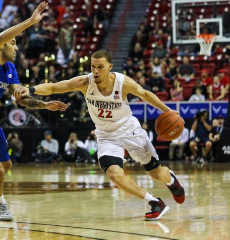 Then-junior guard Malachi Flynn looks to drive to the basket during the Aztecs' 73-60 win over Air Force at the Thomas and Mack Center in Las Vegas on March 5.