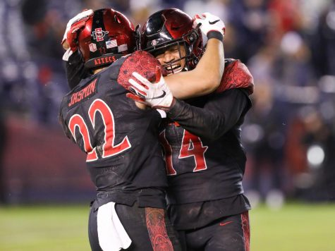 Then-junior defensive back Tariq Thompson and then-junior running back Chase Jasmin celebrate after a play during SDSU