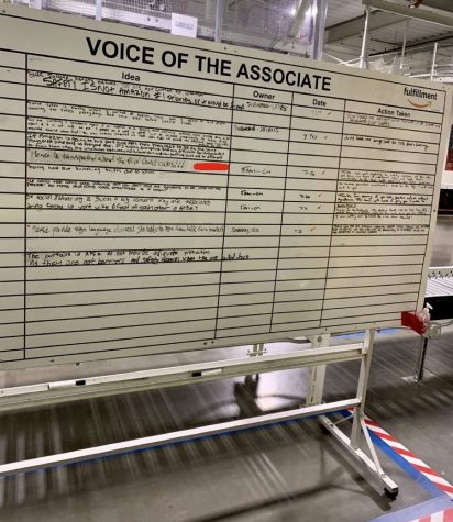 "Inside the warehouse, Amazon associates could voice their opinion on the Voice of the Associate whiteboard. Comments seen here include ""Safety is not Amazon's #1 priority or it would be fixed"" and ""Please be transparent about the # of Covid cases!!!"""