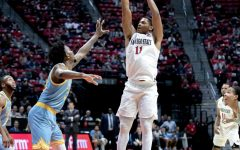 Then-junior forward Matt Mitchell fires a jumper during the Aztecs' 81-64 win over Long Island University on Nov. 22, 2019 at Viejas Arena.