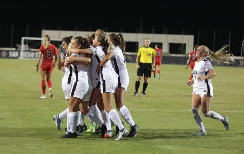 San Diego State women's soccer celebrates after scoring its lone goal against UNLV in a 1-0 victory against the Rebels on Oct. 4, 2019 at the SDSU Sports Deck.