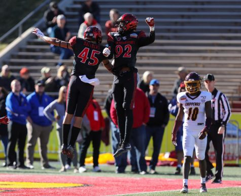 Then-freshman wide receiver Jesse Matthews (left) and then-sophomore wide receiver Kobe Smith celebrate after a play during the Aztecs