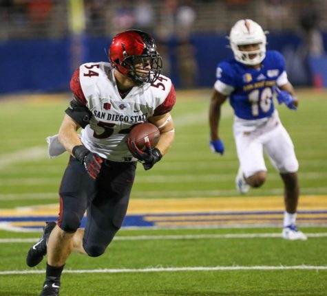 San Diego State then-sophomore linebacker Caden McDonald intercepts a pass during the Aztecs