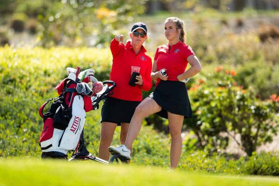 San+Diego+State+women%27s+golf+head+coach+Leslie+Spalding+%28left%29+talks+to+then-sophomore+Sara+Kjellker+during+the+Lamkin+Invitational%2C+when+the+Aztecs+defeated+San+Jos%C3%A9+State+by+a+final+score+of+3-2+at+The+Farms+in+Rancho+Santa+Fe%2C+Calif.+on+Feb.+11.