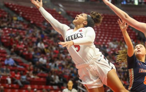 Then-sophomore guard Téa Adams drives to the hoop for a contested layup during the Aztecs' 55-45 win over Cal State Fullerton on Nov. 17, 2019 at Viejas Arena.