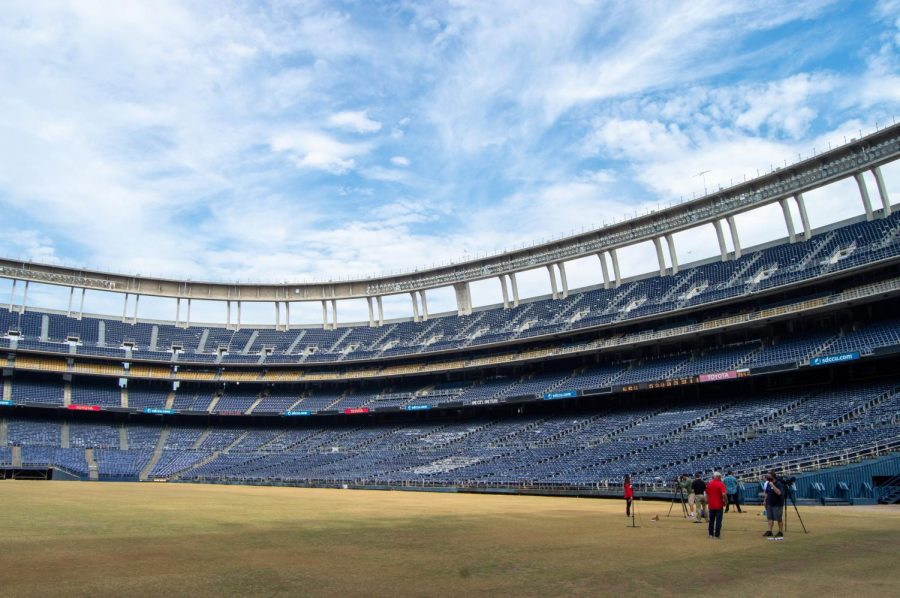 The dying, yellow grass is the most obvious sign that SDCCU Stadium's days are numbered as demolition is set to begin October 2020.