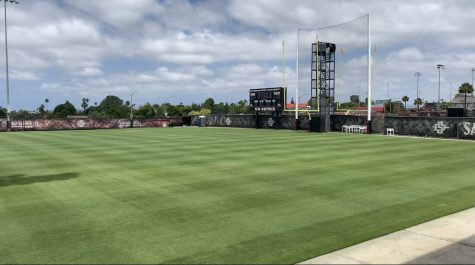 The San Diego State football practice field next to the SDSU Sports Deck was empty on June 7 due to the COVID-19 pandemic. Although football is back, the practice field will be empty yet again on Nov. 3 as student-athletes are encouraged by the NCAA and SDSU to exercise their right to vote.