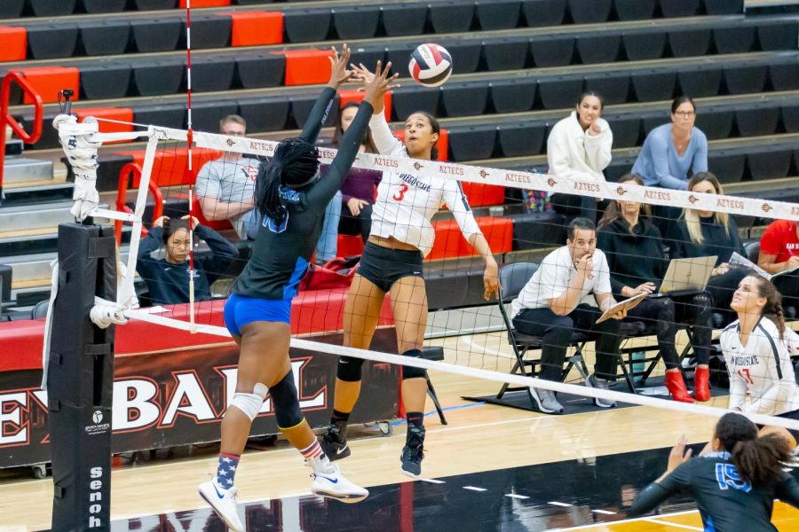 Then-sophomore+middle+blocker+Andrea+Walker+spikes+the+ball+during+the+Aztecs%27+3-1+win+over+Air+Force+on+Nov.+14%2C+2019+at+Peterson+Gym.