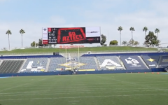 """A screengrab of a SDSU Athletics video showing the big screen at Dignity Health Sports Park displays """"Go Aztecs"""" on Oct. 10. The Aztecs later took the field and participated in the team's annual intrasquad preseason scrimmage, which was closed to the public this year due to COVID-19."""