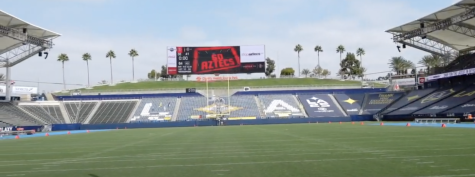 "A screengrab of a SDSU Athletics video showing the big screen at Dignity Health Sports Park displays ""Go Aztecs"" on Oct. 10. The Aztecs later took the field and participated in the team's annual intrasquad preseason scrimmage, which was closed to the public this year due to COVID-19."