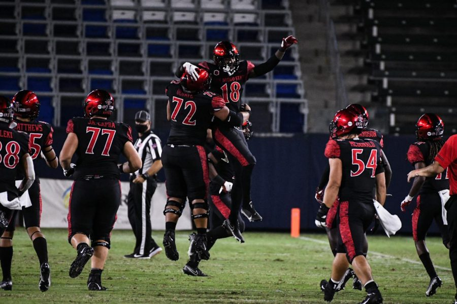 Senior safety Trenton Thompson (#18) celebrates with his teammates after blocking a punt during the Aztecs' 34-6 win over UNLV on Oct. 24 at Dignity Health Sports Park in Carson, Calif.